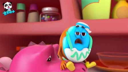 孩子爱看动画宝宝巴士:小恐龙嘴巴被卡住需要帮忙,大家误会它了,萌宝宝美食冒险动画