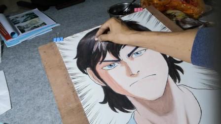 卡通帅哥作画过程