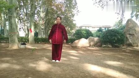 汪夏桥公园女老师晨练传统武术二十四式太极慢动作教学!