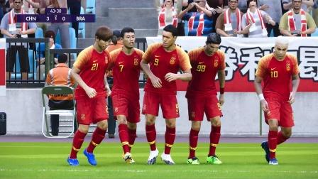 实况足球2021:中国男足6:0巴西,空霸头球砸晕桑巴军团