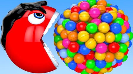 吃豆人:钢铁侠吃豆人爱吃足球巧克力游戏