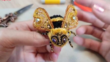【布张扬手造】【资源分享】珠绣蜜蜂胸针视频教程(外文)