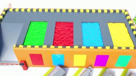工程车小汽车玩具进入神奇染料池变成彩色