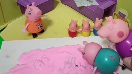 猪妈妈回来了,怎么被黏住了,地上是什么啊?