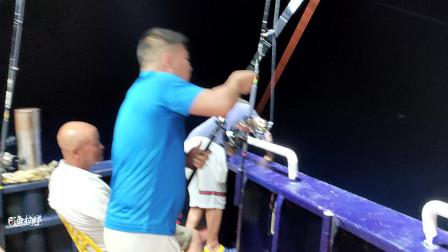 广西钓友用飞鱼做饵放流,突遇大金枪咬钩,轮子鱼竿嗡嗡响