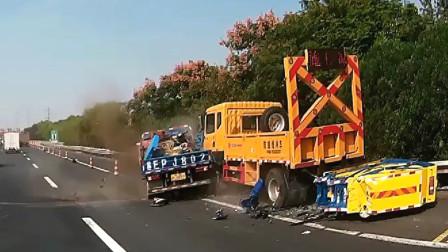 交通事故合集:货车师傅疲劳驾驶,偏离车道结果悲剧了