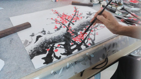 画一枝红梅花