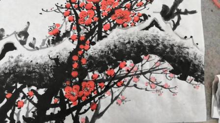 习画一幅清香红梅花