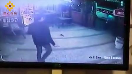 男子正在遛狗突然来了只恶猫 人和狗都慌了