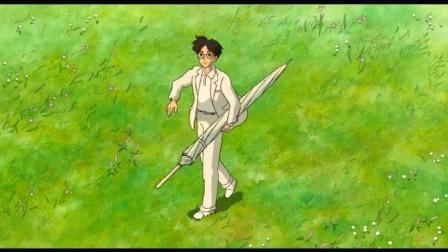 动漫:风越刮越大,雨伞刮到了男孩的身边