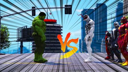 GTA5史诗模拟器:绿巨人浩克大战毒液大军,绿巨人太强了