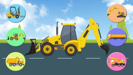 给不同颜色的起重机、叉车、挖掘机等6种工程车找到正确的位置