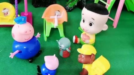 小鬼正在玩木马,乔治要玩,猪爷爷就赶走了小鬼,这样对吗?