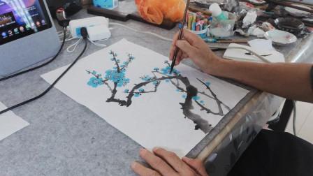 画一枝简单绿梅花