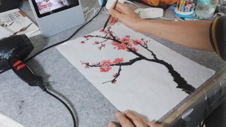 画一枝简单小红梅