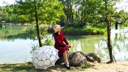 湖水丝丝涟漪 杉树盈盈倒映 秋景斑斓如画 意境令人遐想