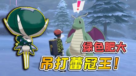 宝可梦剑盾104:把绿色快龙传送过来,一招吊打蕾冠王!