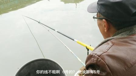 溜3个多小时,丢6次失手绳,钓友排灌站河道野钓巨物