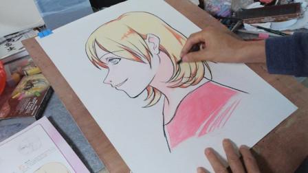 画一个漫画则面女生