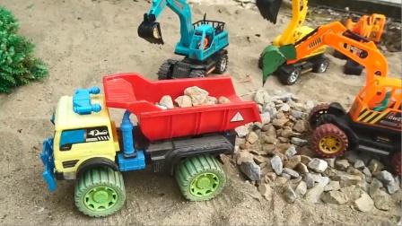 挖掘机和土方车模拟运输石头