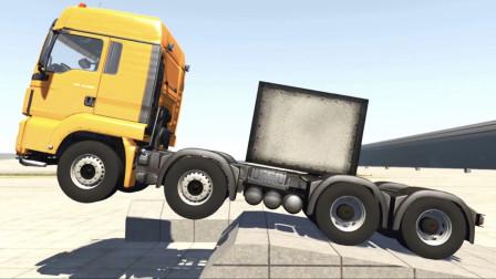 BeamNG:8吨MAN牵引车头开足马力测试悬挂性能,画面够酸爽