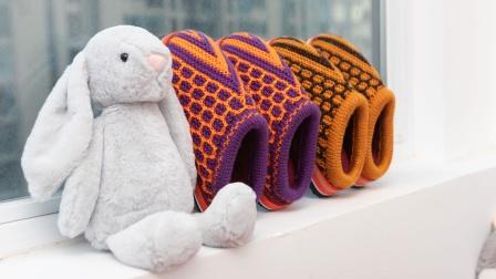 26棒针棉鞋子编织视频教程巧手女工儿童毛线棉鞋的织法