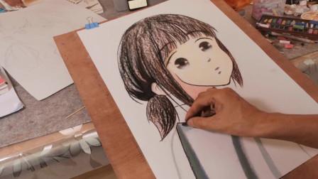 画一个侧身漫画小女孩