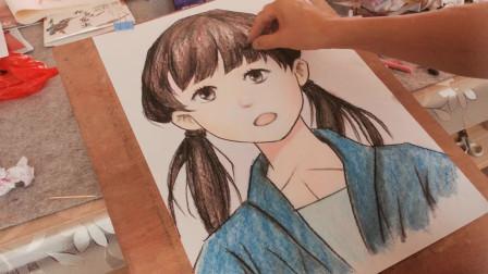 画一个蓝色衣服的小女孩