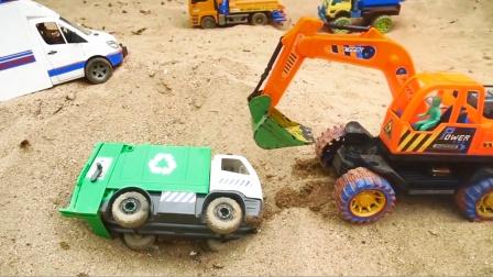 垃圾车和越野车会车时翻车,工程救援队来救援