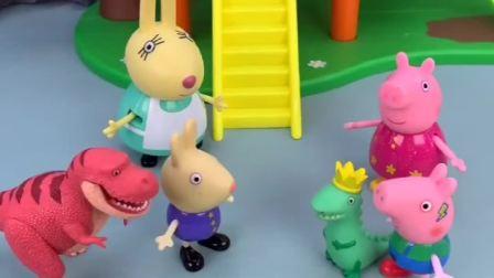 乔治有一个恐龙,理查德也有一个,乔治跟理查德都不愿意把自己的玩具拿来分享!
