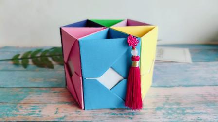 漂亮的立体笔筒折纸,简单易学还可以收纳,详细视频教程!