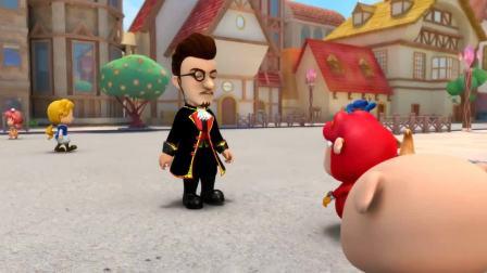 猪猪侠:猪猪侠的话太多了,菲菲受不了,用棒棒糖砸他!