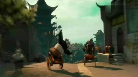功夫熊猫:阿宝不用车夫,就能追上恶狼,真不愧是神龙大侠!