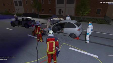趣味儿童工程车游戏,消防人员克服困难成功解救被困人员