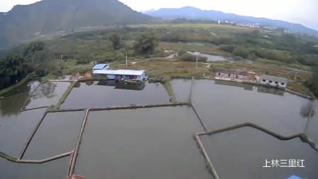 上林云陆航拍 地势平坦水面非常多 真正的鱼米之乡