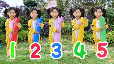 早教英语启蒙儿歌,五个小萝莉诗琪在草地上做游戏学颜色