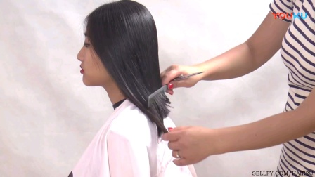 丰满女孩的长发变着花样剪短发(一)
