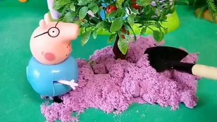 猪爸爸在门口种树,乔治这时来了,有僵尸在追乔治!