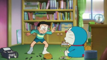 哆啦A梦:哆啦A梦在取笑大雄,大雄很生气,哆啦A梦真是过分呀