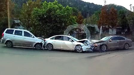 交通事故合集:路口转弯不让直行车,连环事故一触即发