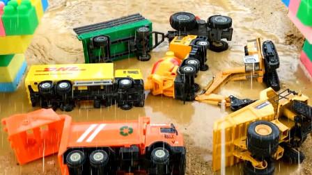 汽车玩具视频 桥被风吹塌了各种小汽车都掉进河里了