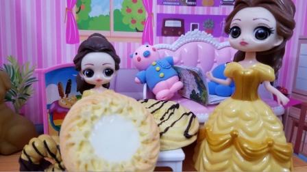 贝儿梦见自己猜对了谜语,有好多好多的饼干吃
