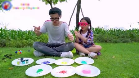 国外儿童时尚,亲子互动,父女二人恶搞熟睡的哥哥学习颜色