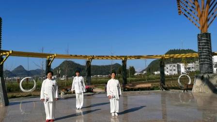 2020年刘家铃,岺加惠,何贯淋在农丰耕园,练42式太极拳。