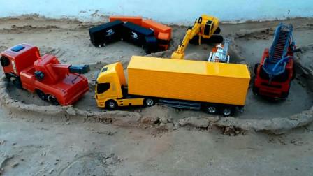 汽车玩具视频 好工程车建筑汽车在修路