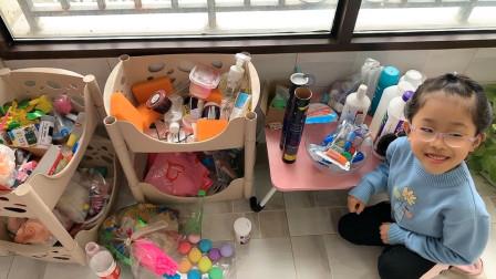鱼妈和鱼宝整理出家里的做泥材料,准备分发给粉丝小姐姐,无硼砂