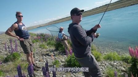 户外钓鱼纪实,看钓的鳟鱼英尺。