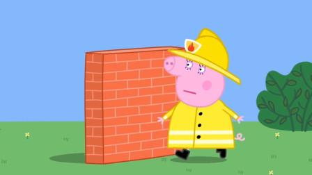 小猪佩奇最新第八季 猪妈妈当消防员练习翻墙 简笔画
