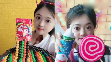 小可爱吃播:彩色小糖果棒棒糖,大口吃得超过瘾,我向往的生活