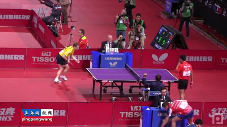 20130517巴黎世乒赛 男单第1轮 张继科vs阿克斯特罗姆 乒乓球比赛视频  侧面视角